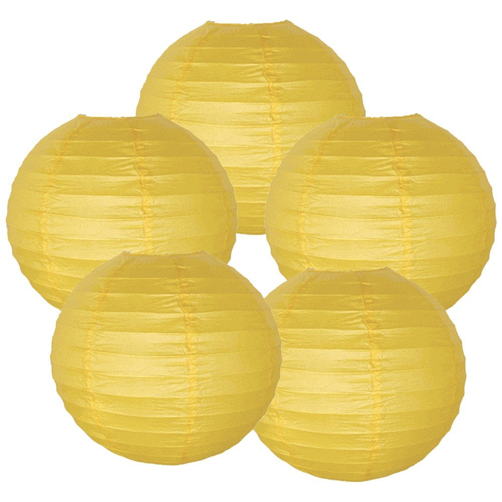 "12"" Pineapple Yellow Chinese Paper Lanterns (Set of 5, 12-inch, Pineapple Yellow)"
