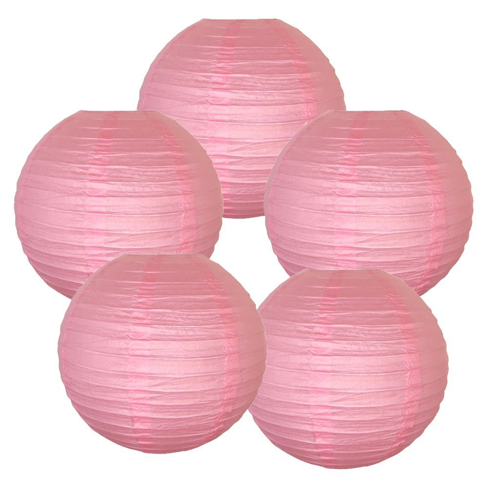 "12"" Pink Chinese Paper Lanterns (Set of 5, 12-inch, Pink)"