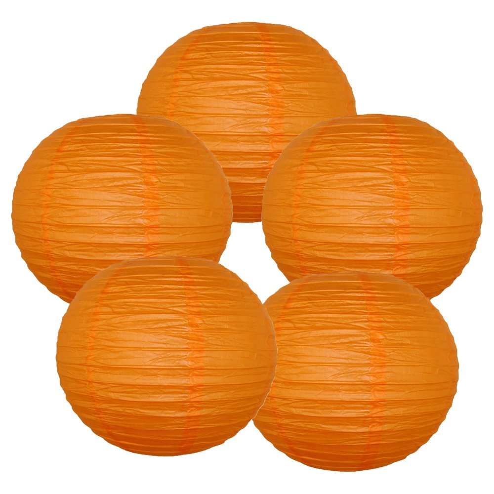 "12"" Red Orange Chinese Paper Lanterns (Set of 5, 12-inch, Red Orange)"