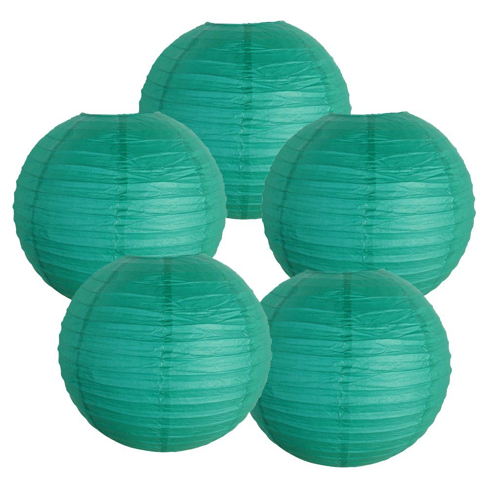 "12"" Teal Blue Green Paper Lanterns (Set of 5, 12-inch, Teal Blue Green)"
