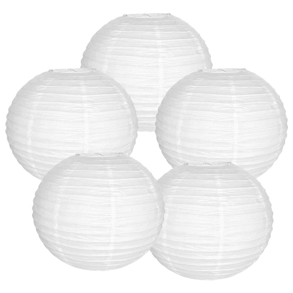 "12"" White Chinese Paper Lanterns (Set of 5, 12-inch, White)"