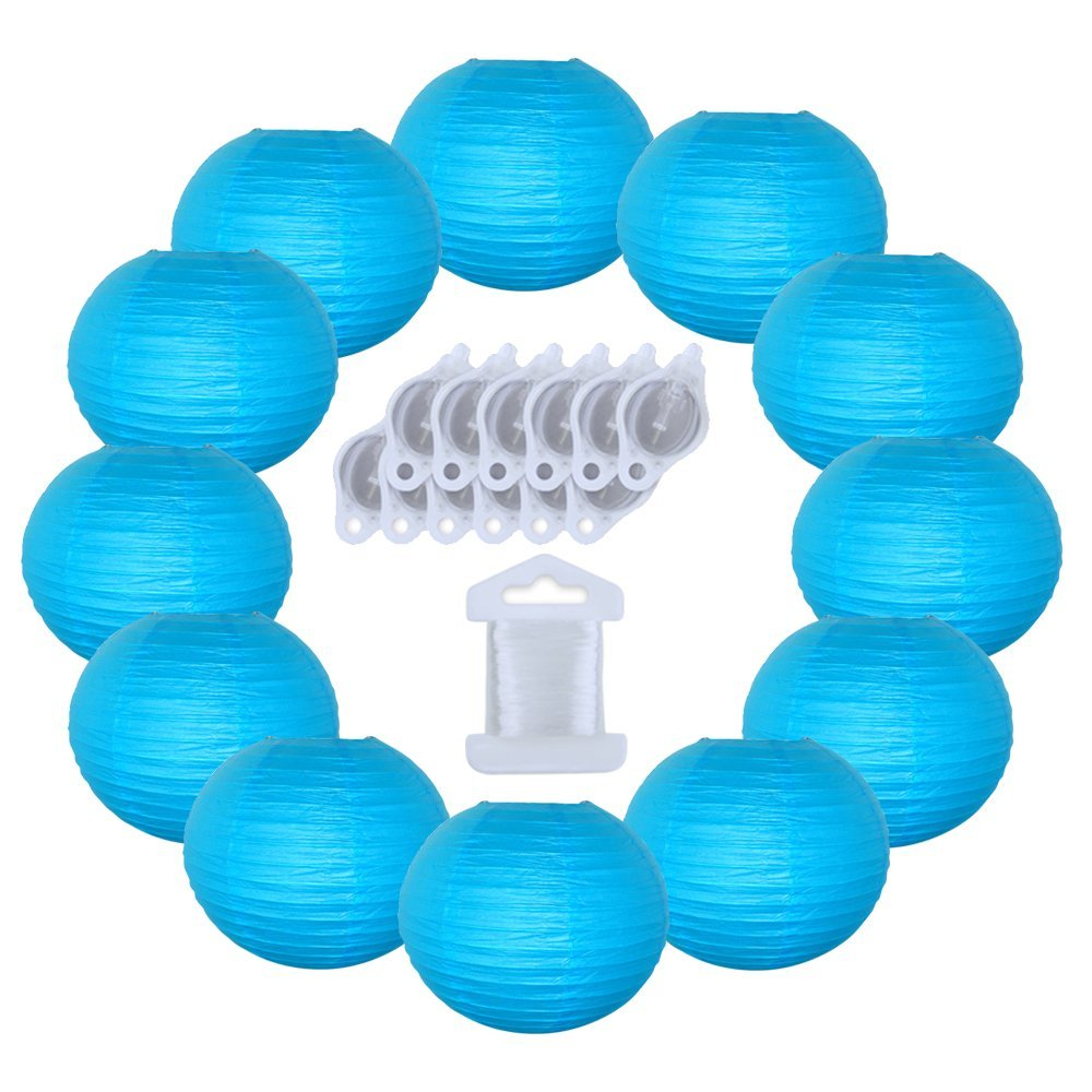 12inch Decorative Round Chinese Paper Lanterns 10pcs w/ 12pc LED Lights and Clear String (Color: Aquamarine Blue)