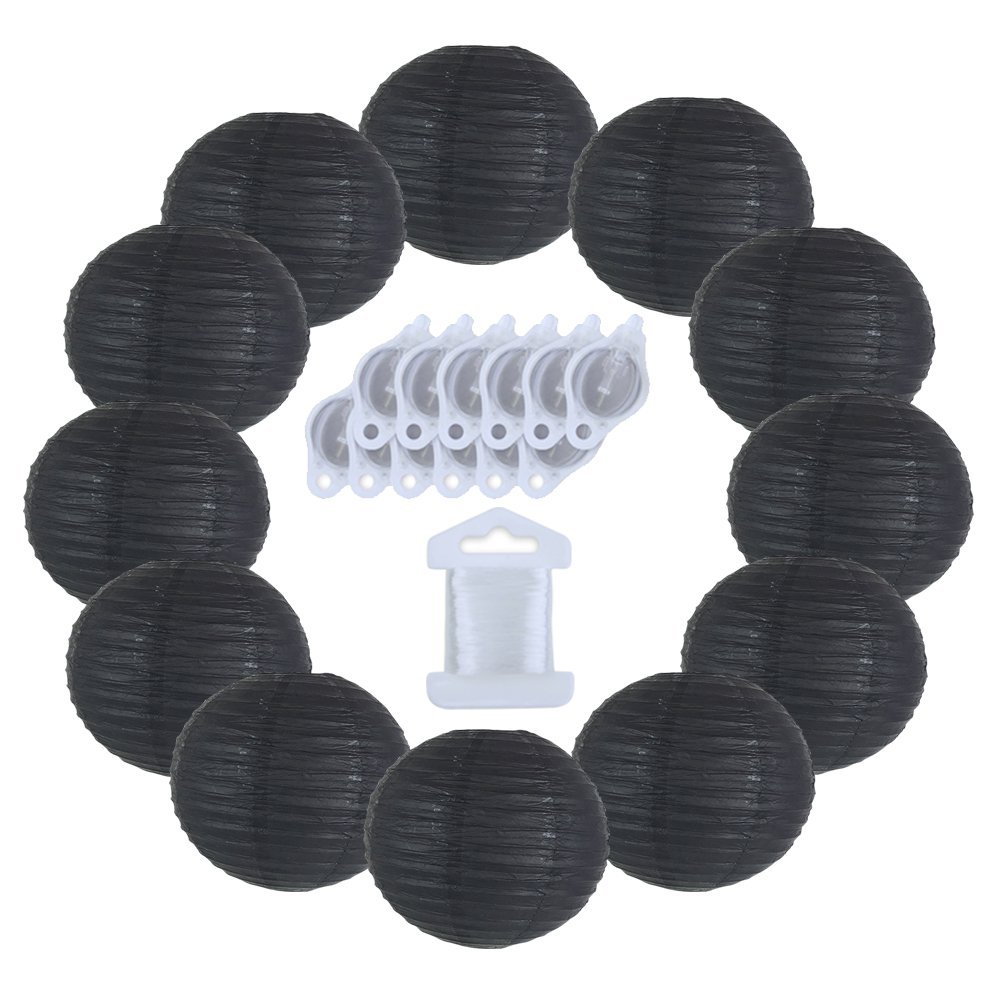 12inch Decorative Round Chinese Paper Lanterns 10pcs w/ 12pc LED Lights and Clear String (Color: Black)