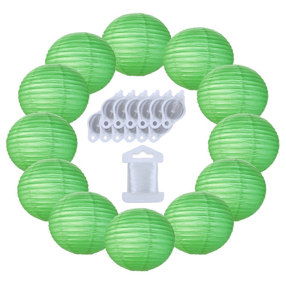 12inch Decorative Round Chinese Paper Lanterns 10pcs w/ 12pc LED Lights and Clear String (Color: Green)