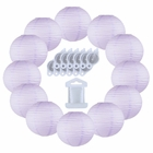 12inch Decorative Round Chinese Paper Lanterns 10pcs w/ 12pc LED Lights and Clear String (Color: Lavender)