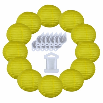 12inch Decorative Round Chinese Paper Lanterns 10pcs w/ 12pc LED Lights and Clear String (Color: Lemon Yellow)