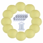 12inch Decorative Round Chinese Paper Lanterns 10pcs w/ 12pc LED Lights and Clear String (Color: Pale Yellow)