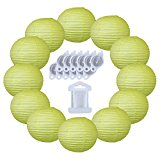 12inch Decorative Round Chinese Paper Lanterns 10pcs w/ 12pc LED Lights and Clear String (Color: Pistachio Green)
