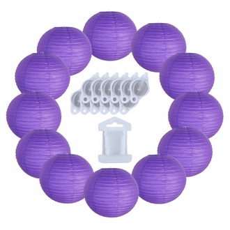 12inch Decorative Round Chinese Paper Lanterns 10pcs w/ 12pc LED Lights and Clear String (Color: Royal Purple)