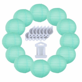 12inch Decorative Round Chinese Paper Lanterns 10pcs w/ 12pc LED Lights and Clear String (Color: Seafoam)
