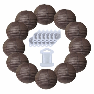 12inch Decorative Round Chinese Paper Lanterns 10pcs w/ 12pc LED Lights and Clear String (Color: Slate Brown)