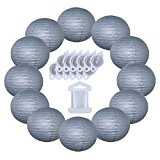 12inch Decorative Round Chinese Paper Lanterns 10pcs w/ 12pc LED Lights and Clear String (Color: Slate Gray)