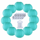 12inch Decorative Round Chinese Paper Lanterns 10pcs w/ 12pc LED Lights and Clear String (Color: Turquoise)