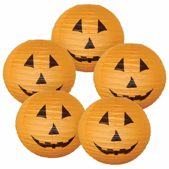 "16"" Orange Halloween Pumpkin Paper Jack-O'-Lantern (Set of 5, 16inch, Orange Paper Jack-O'-Lantern)"