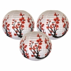 "16"" Red Sakura (Cherry) Flowers Chinese Paper Lanterns (Set of 3, Cherry Blossom)"