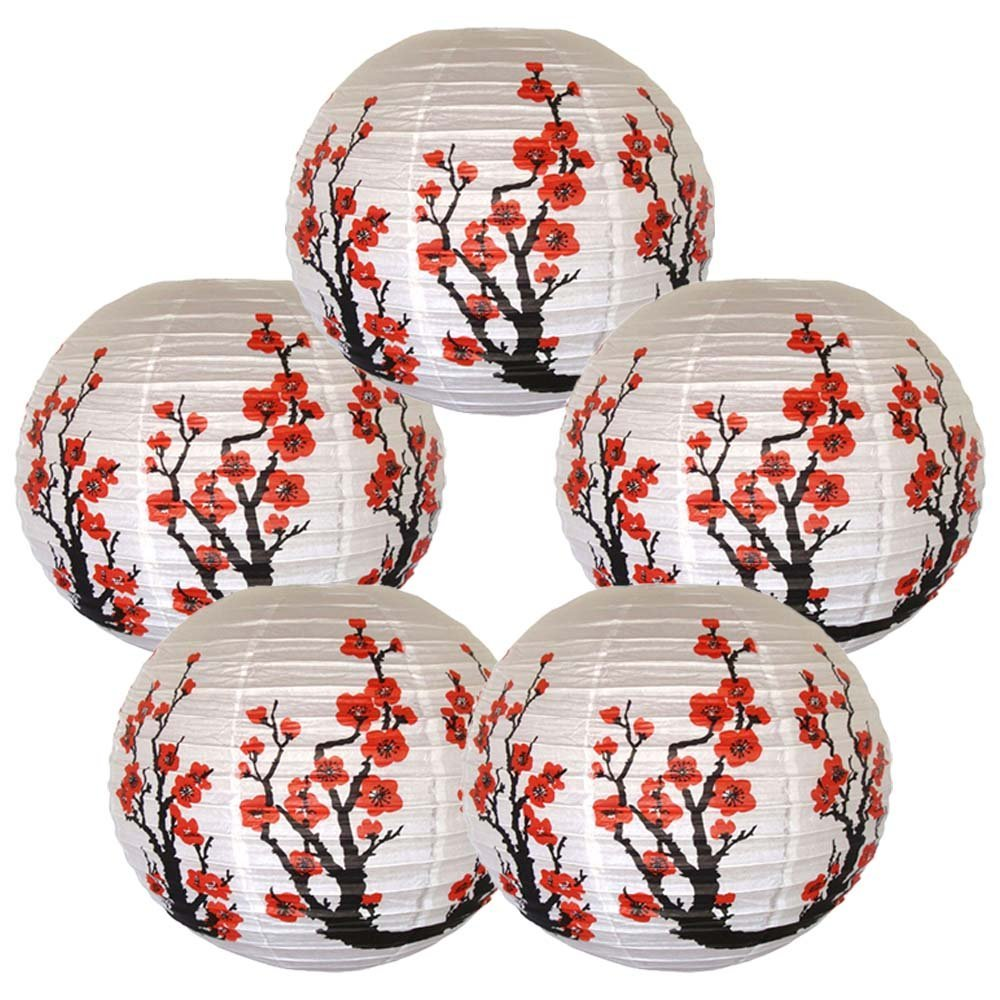 "16"" Red Sakura (Cherry) Flowers Chinese Paper Lanterns (Set of 5, Cherry Blossom)"