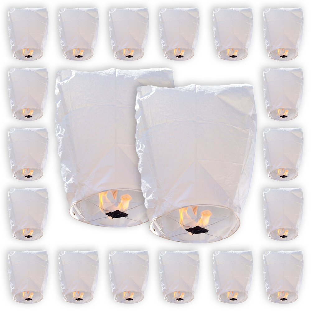 20 Eclipse White Chinese Flying Sky (Floating) Lanterns - (Eclipse, Set of 20, White) - Premier