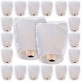 20 ECO Wire-Free Flying Chinese Sky Lanterns (Set of 20, Wire-free Eclipse, White) - Premier