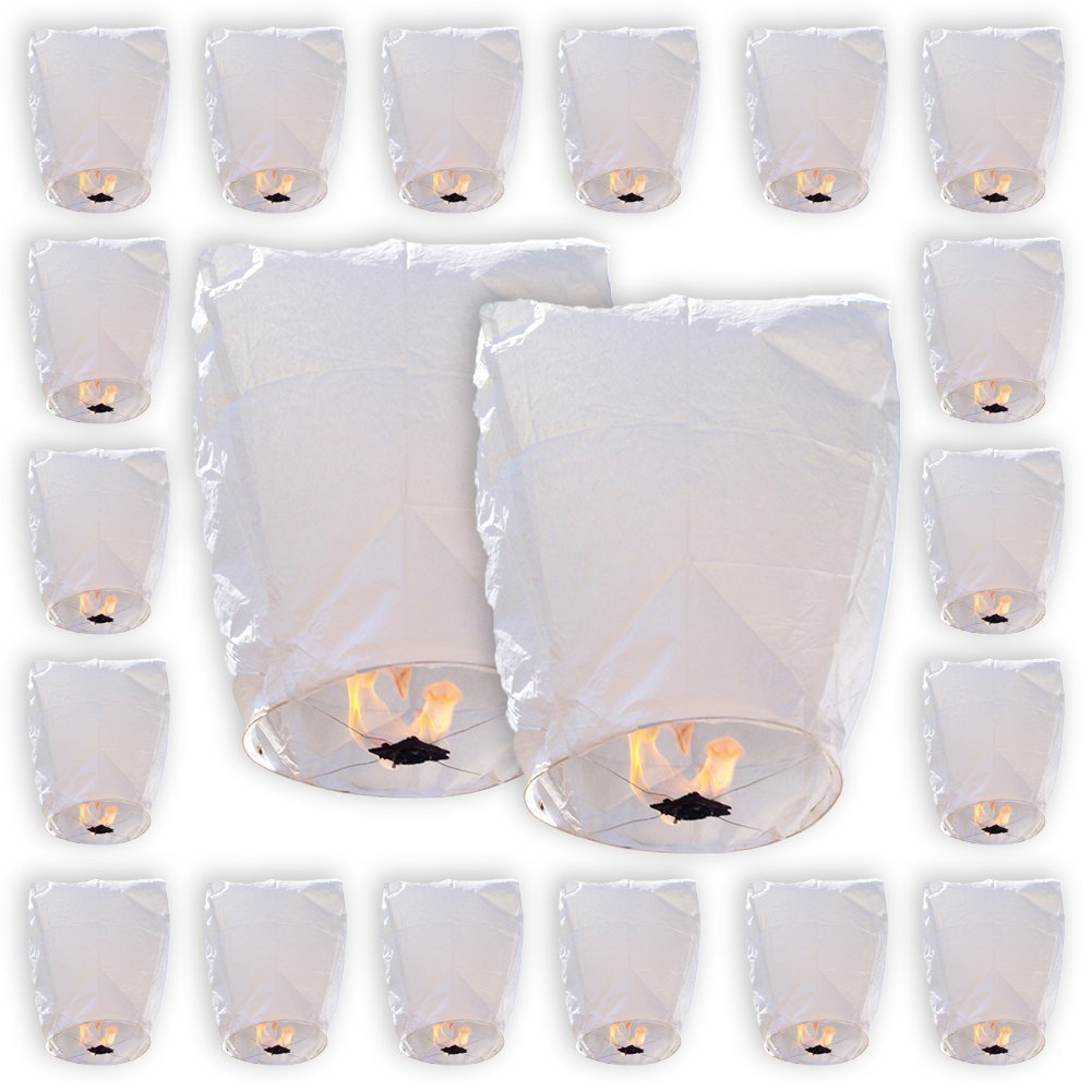 20 MINI White ECO Wire-free Eclipse Flying Sky (Floating) Lanterns - (Set of 20, MINI Eclipse, White) - Premier