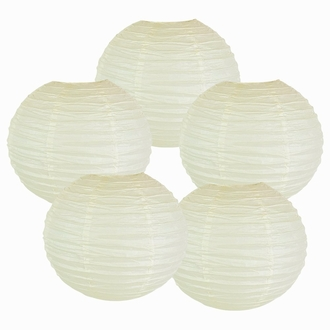 "6"" Ivory Chinese Paper Lanterns (Set of 5, 6-inch, Ivory)"