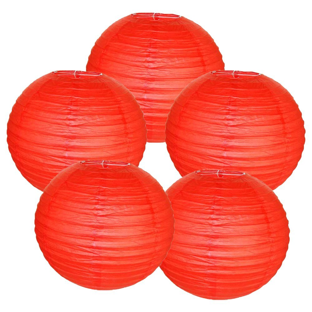 "6"" Red Chinese Paper Lanterns (Set of 5, 6-inch, Red)"