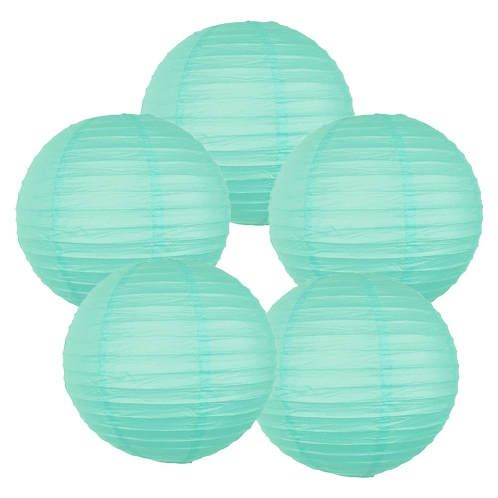 "6"" Seafoam Chinese Paper Lanterns (Set of 5, 6-inch, Seafoam)"
