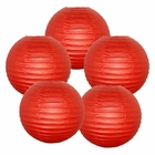 "8"" Dark Red Chinese Paper Lanterns (Set of 5, 8-inch, Dark Red)"
