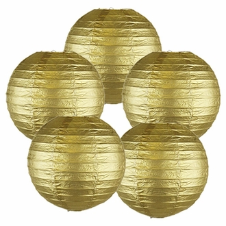 "8"" Gold Chinese Paper Lanterns (Set of 5, 8-inch, Gold)"