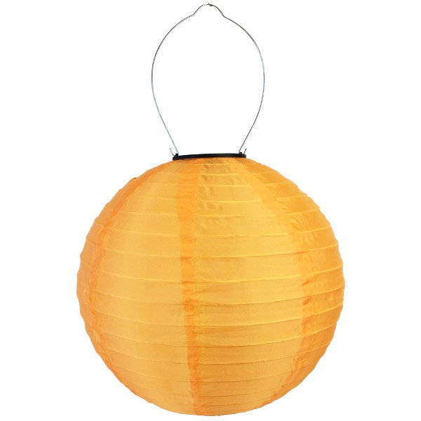 8 inch Solar LED Nylon Round Lantern Orange