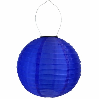 8 inch Solar LED Nylon Round Lantern Royal Blue