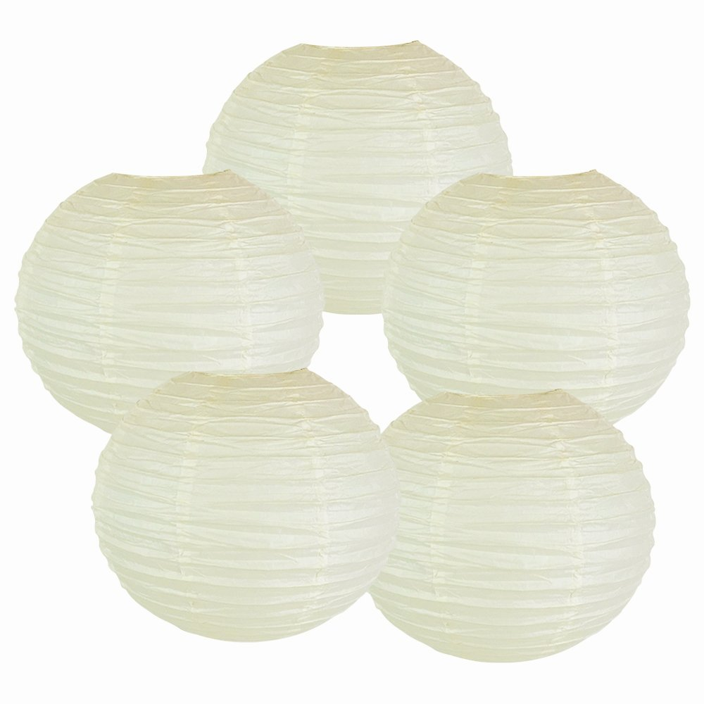 "8"" Ivory Chinese Paper Lanterns (Set of 5, 8-inch, Ivory)"