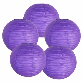 "8"" Royal Purple Chinese Paper Lanterns (Set of 5, 8-inch, Royal Purple)"