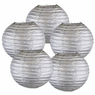 """8"""" Silver Chinese Paper Lanterns (Set of 5, 8-inch, Silver)"""