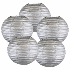 "8"" Silver Chinese Paper Lanterns (Set of 5, 8-inch, Silver)"