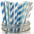 Assorted Paper Straw Kit (100pcs, Striped: Light Blue/Blue/Metallic Silver)