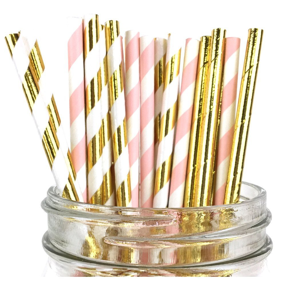 Assorted Paper Straw Kit (100pcs, Striped: Light Pink/Metallic Gold, Solid: Metallic Gold)