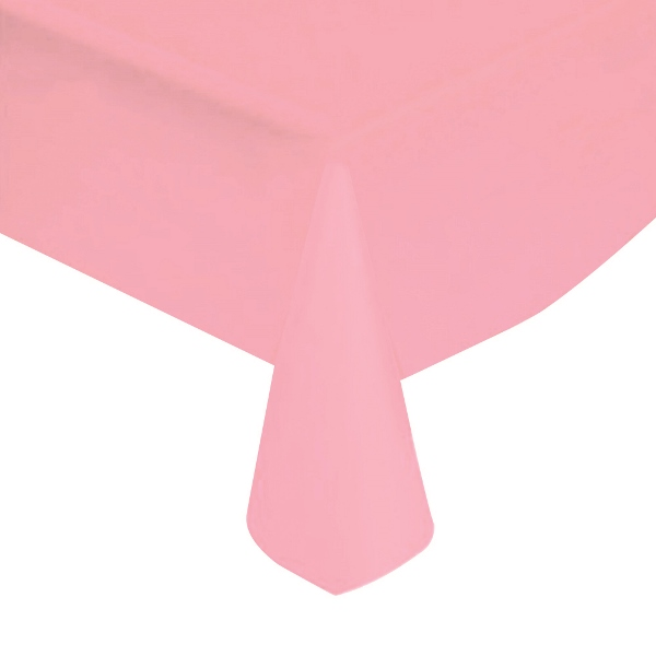 "Baby Pink Solid Plastic Tablecloth 54"" X 108"""