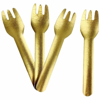 Biodegradable Paper Cutlery Utensil Metallic Solid Gold Fork 12pcs