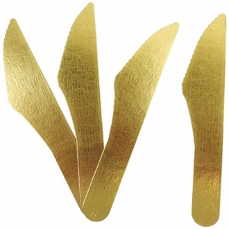 Biodegradable Paper Cutlery Utensil Metallic Solid Gold Knife 12pcs