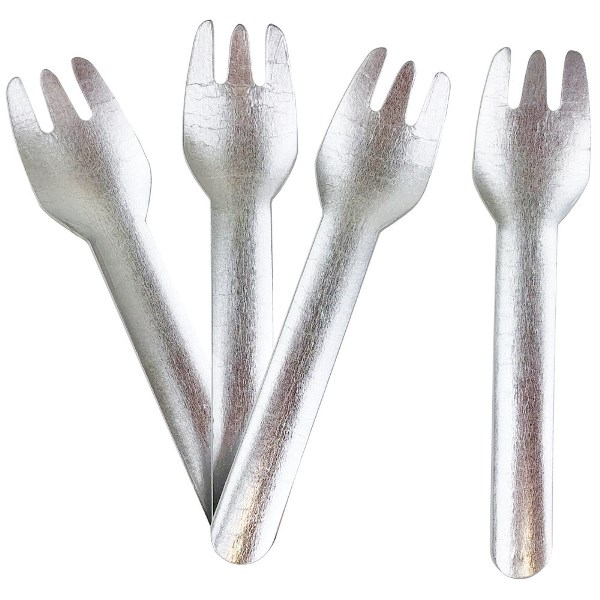Biodegradable Paper Cutlery Utensil Metallic Solid Silver Fork 12pcs