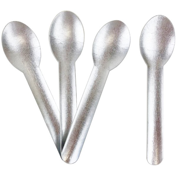 Biodegradable Paper Cutlery Utensil Metallic Solid Silver Spoon 12pcs
