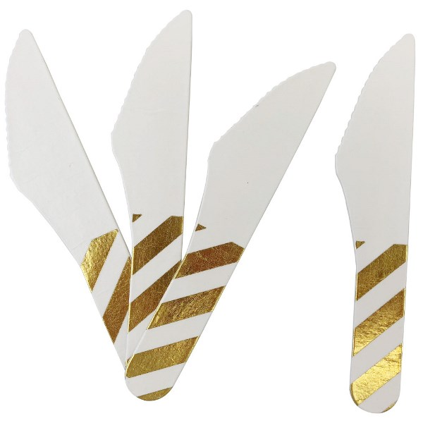 Biodegradable Paper Cutlery Utensil Metallic Striped Gold Knife 12pcs