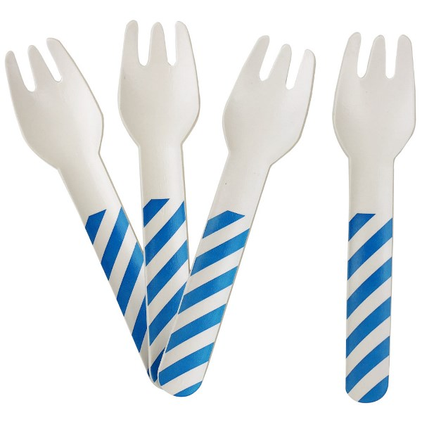Biodegradable Paper Cutlery Utensil Striped Blue Fork 12pcs