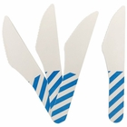 Biodegradable Paper Cutlery Utensil Striped Blue Knife 12pcs