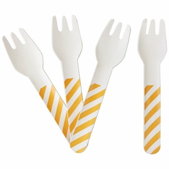 Biodegradable Paper Cutlery Utensil Striped Orange Fork 12pcs