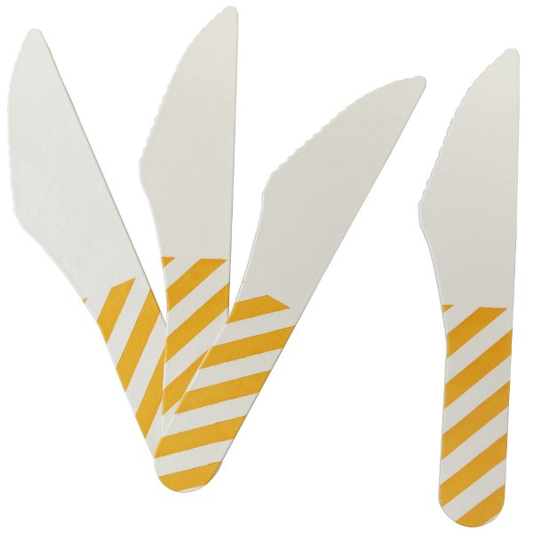 Biodegradable Paper Cutlery Utensil Striped Orange Knife 12pcs