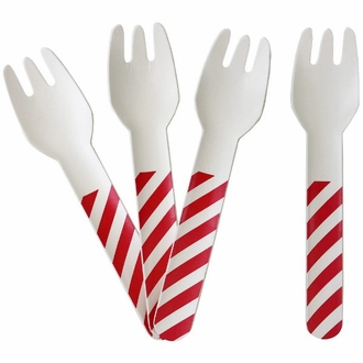 Biodegradable Paper Cutlery Utensil Striped Red Fork 12pcs