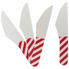 Biodegradable Paper Cutlery Utensil Striped Red Knife 12pcs