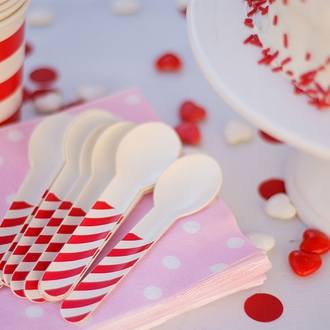 Biodegradable Paper Cutlery Utensil Striped Red Spoon 12pcs