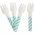 Biodegradable Paper Cutlery Utensil Striped Seafoam Fork 12pcs